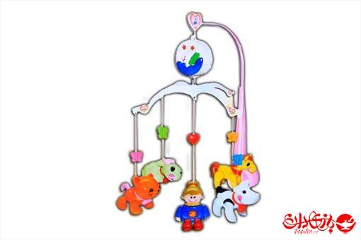 اسباب-بازی-آویز تخت موزیکال طرح حیوانات دخترانه