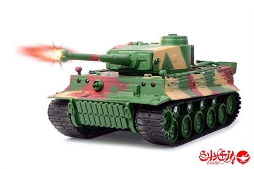 اسباب-بازی-تانک شلیک کن رادیو کنترلی  ارتشی آلمانی سبز