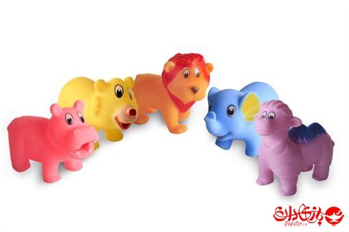 اسباب-بازی-ست 5 تکه حیوانات رنگی نرم سوتکی
