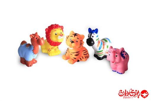 اسباب-بازی-ست 5 تکه حیوانات نرم سوتکی جنگل