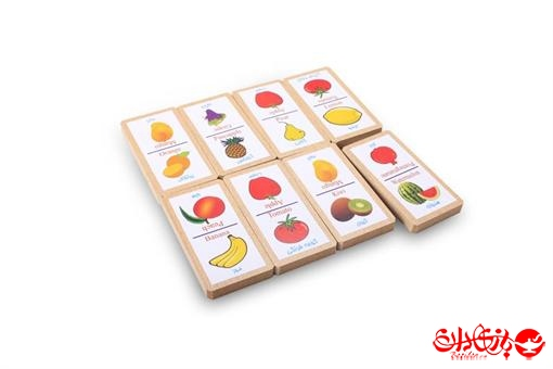 اسباب-بازی-دومینو میوه ها 32 عددی جعبه چوبی