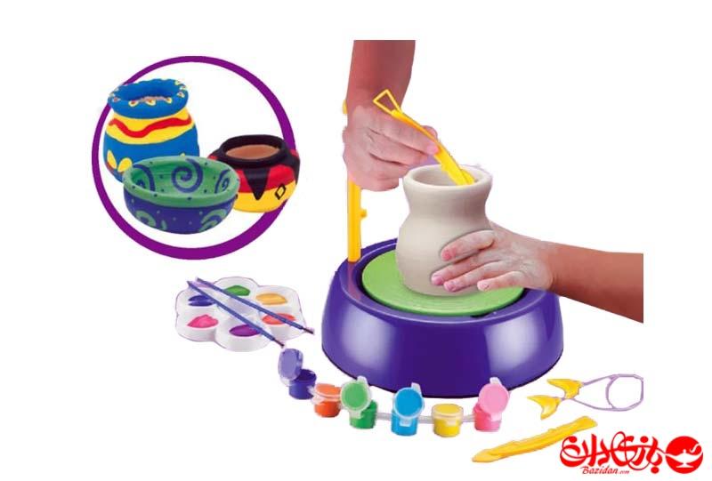 تصویر-شماره-1-چرخ-سفالگری-کودکان-همراه-گل-سفالگری-و-رنگ-و-قلم-مو