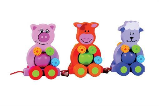 اسباب-بازی-حیوانات چرخ دارسه تایی چوبی مارک ToyPlus