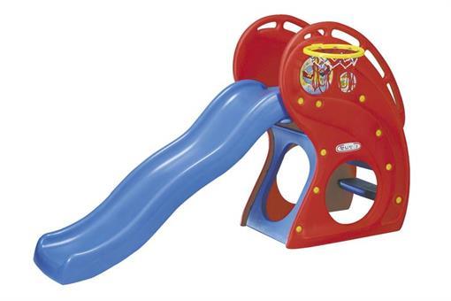 اسباب-بازی-سرسره بزرگ قرمز با تور بسکتبال ساخت کره مارک Haenim toy