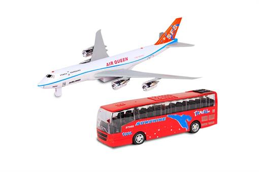 اسباب-بازی-ماکت هواپیما و اتوبوس چراغ دار و صدادار