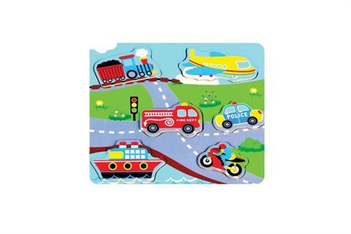 اسباب-بازی-پازل ماشین و هواپیما موزیکال چوبی مارک ToyPlus