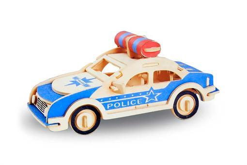 اسباب-بازی-جورچین و ماکت چوبی 3 بعدی ماشین پلیس 3 لایه رنگی
