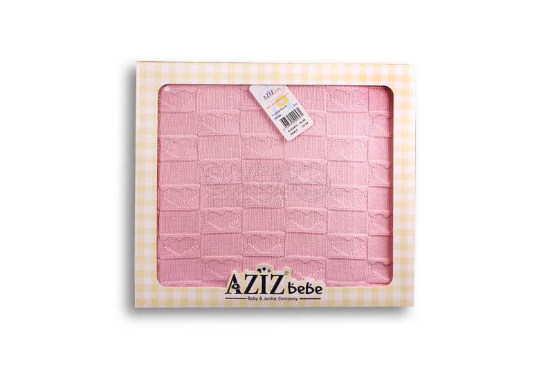 تصویر-شماره-1-پتو-صورتی-مربع-قلب-دار-مارک-AZIZ-BEBE