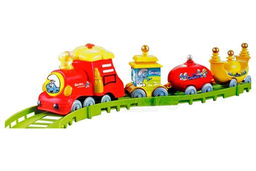 اسباب-بازی-قطار 16 تکه چراغ دار موزیکال طرح اسمورف
