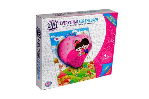 اسباب-بازی-پازل 125 تکه + 10 تکه 3 بعدی  ساختنی طرح قلب صورتی