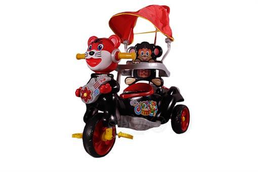 اسباب-بازی-سه چرخه موزیکال کودک سایبان دار قرمز طرح گربه