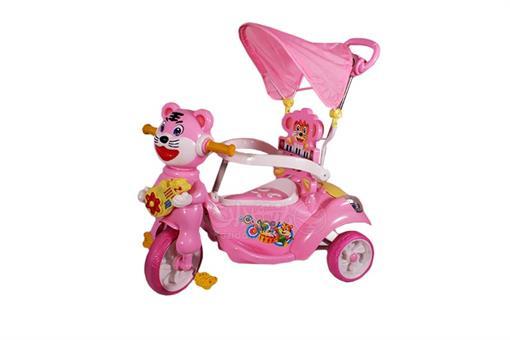 اسباب-بازی-سه چرخه موزیکال کودک سایبان دار صورتی طرح گربه