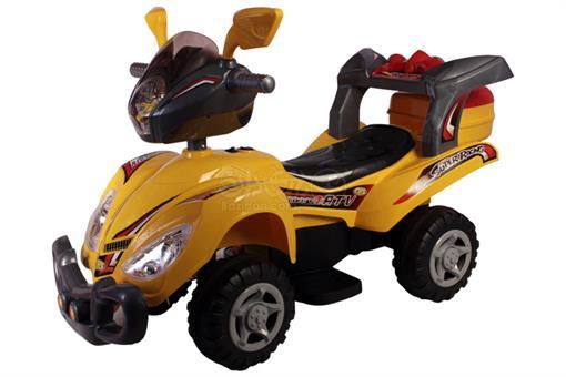 اسباب-بازی-موتور شارژی چهار چرخ زرد با ریموت- صندوق دار قابلیت آموزش الفبای انگلیسی با صفحه LCD