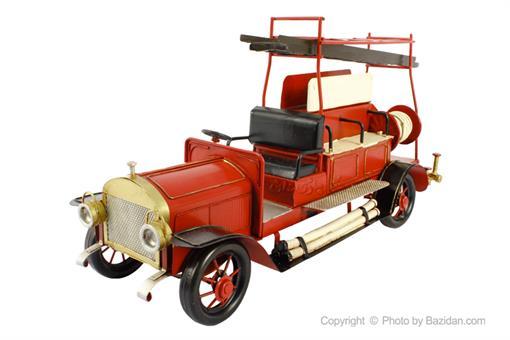 اسباب-بازی-ماشین فلزی دکوراتیو مدل آتش نشانی با نردبان