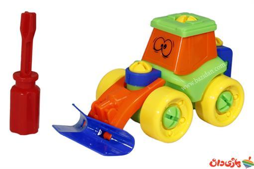 اسباب-بازی-ماشین ساخت و ساز پیچ و مهرهای طرح بولدزر