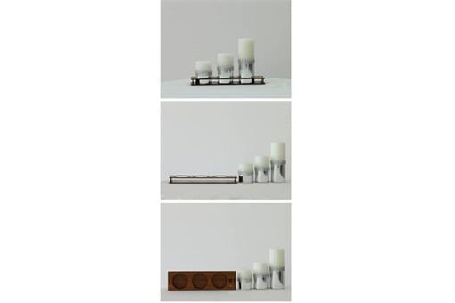 اسباب-بازی-ست کامل شمع استوانه قطر ٥/٥ سانت ورق نقره نگین دار کد٥٠١