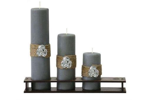 اسباب-بازی-ست کامل شمع استوانه قطر ٤ سانت طرح رز نقره ای کد٤٠٣